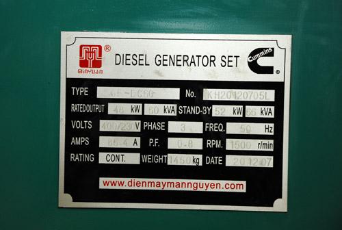 Thông số máy phát điện diesel